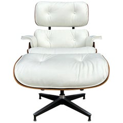 Herman Miller Eames Rosewood Lounge Chair and Ottoman with New White Leather