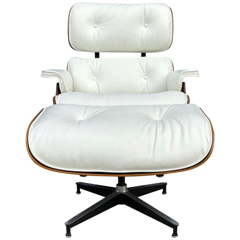Herman Miller Eames Rosewood Lounge Chair and Ottoman with New White Leather For Sale