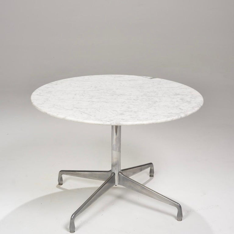 Mid-Century Modern Herman Miller Eames Round Carrara Marble-Top Dining Table For Sale
