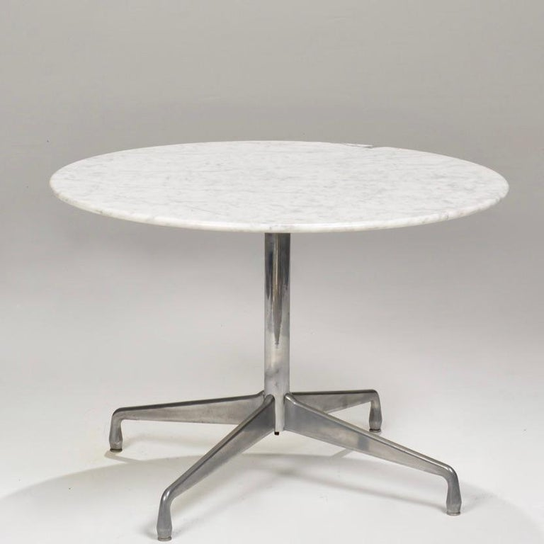American Herman Miller Eames Round Carrara Marble-Top Dining Table For Sale