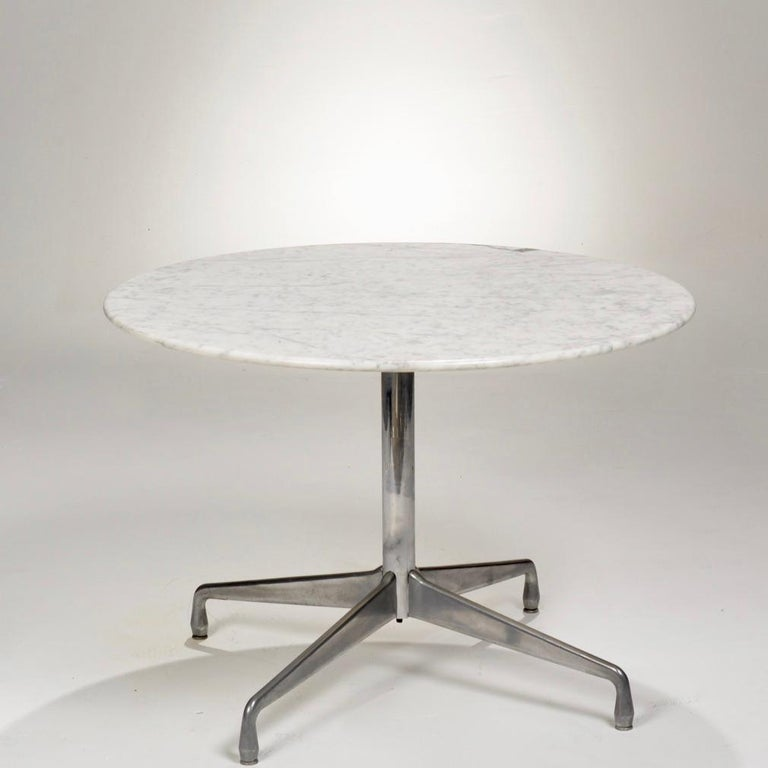 Polished Herman Miller Eames Round Carrara Marble-Top Dining Table For Sale