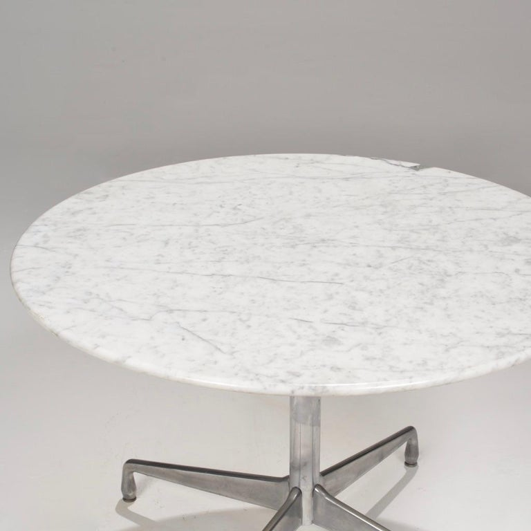 20th Century Herman Miller Eames Round Carrara Marble-Top Dining Table For Sale