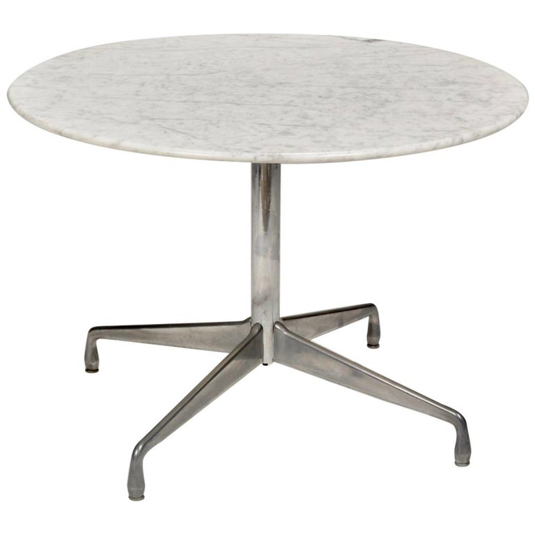Herman Miller Eames Round Carrara Marble-Top Dining Table For Sale