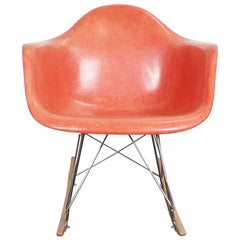 Herman Miller Eames Salmon Orange Fiberglass RAR Rocking Chair