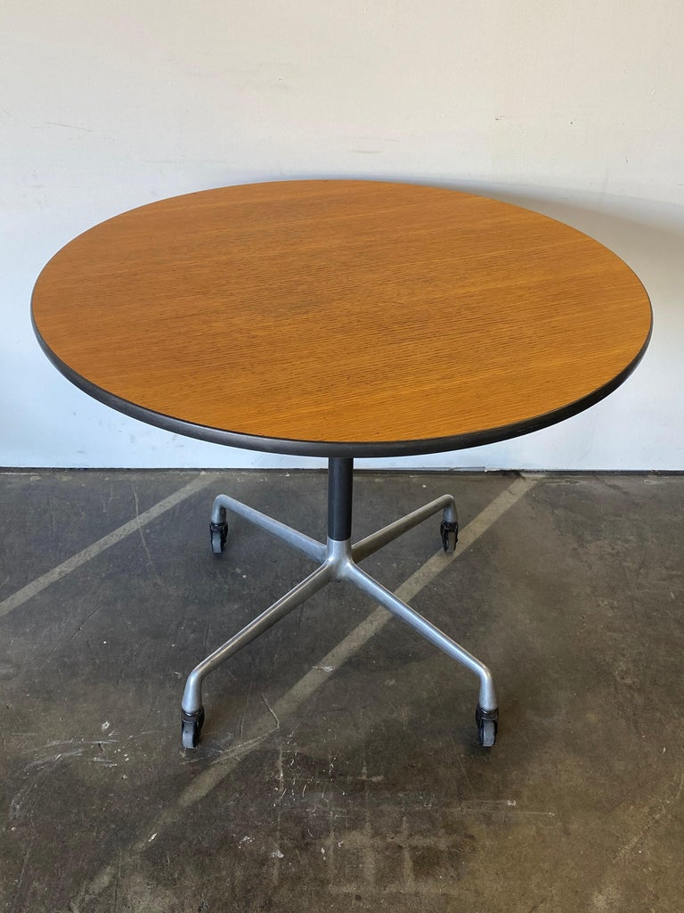 Mid-Century Modern Herman Miller Eames Wood Top Dining Table on Aluminum Base with Casters For Sale