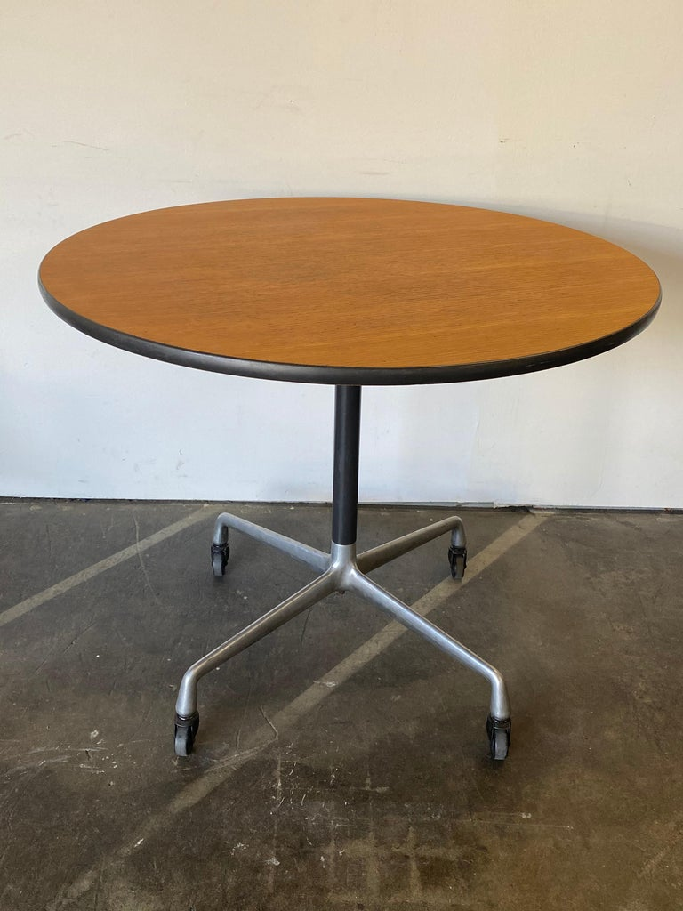 American Herman Miller Eames Wood Top Dining Table on Aluminum Base with Casters For Sale