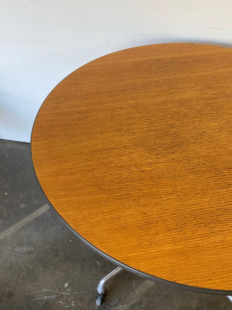 20th Century Herman Miller Eames Wood Top Dining Table on Aluminum Base with Casters For Sale