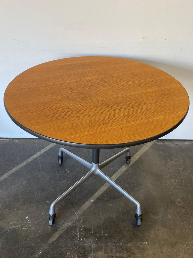 Herman Miller Eames Wood Top Dining Table on Aluminum Base with Casters For Sale 1