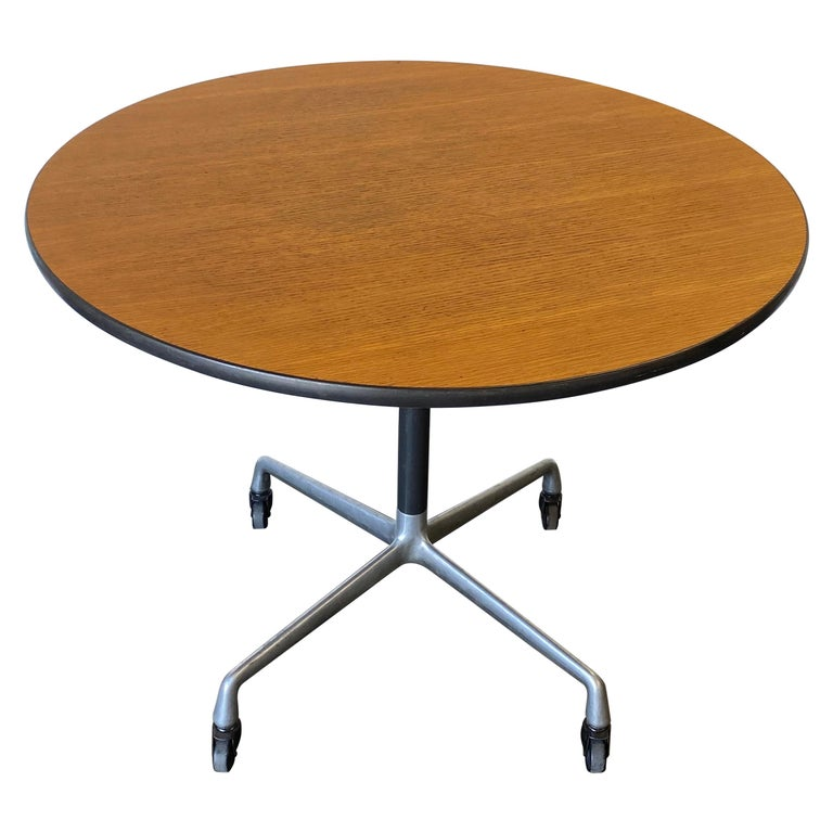 Herman Miller Eames Wood Top Dining Table on Aluminum Base with Casters For Sale