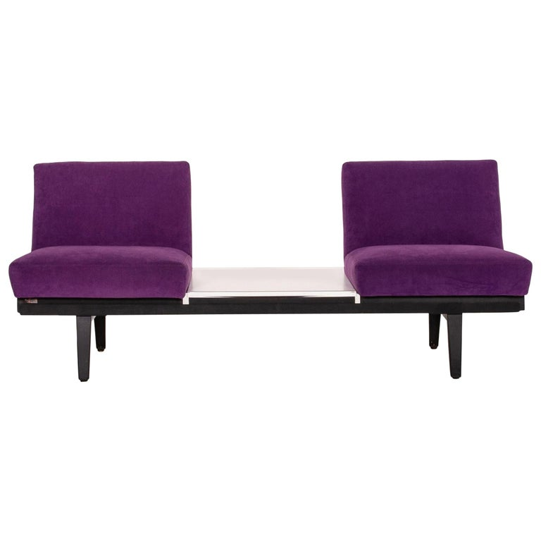 Herman Miller Fabric Sofa Purple Two-Seat Couch For Sale