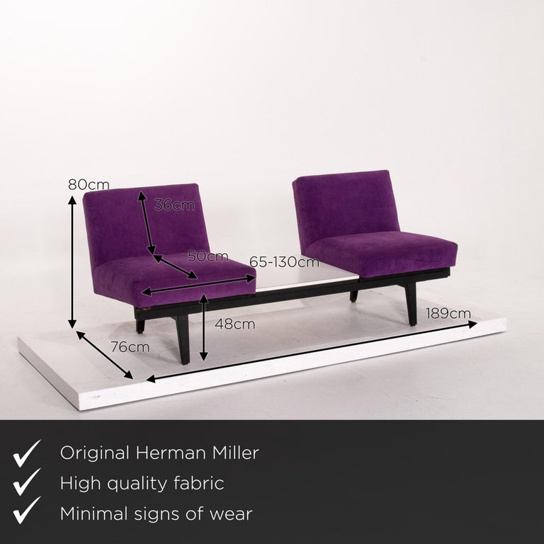 We present to you a Herman Miller fabric sofa purple two-seat couch.  Product measurements in centimeters:  Depth 76 Width 189 Height 80 Seat height 48 Seat depth 50 Seat width 65 Back height 36.