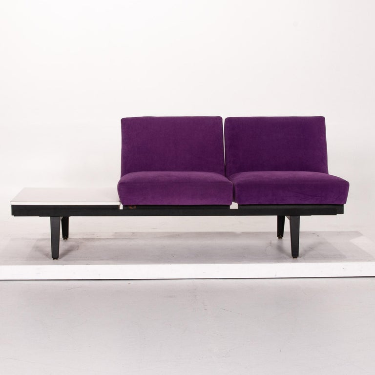 Modern Herman Miller Fabric Sofa Purple Two-Seat Couch For Sale