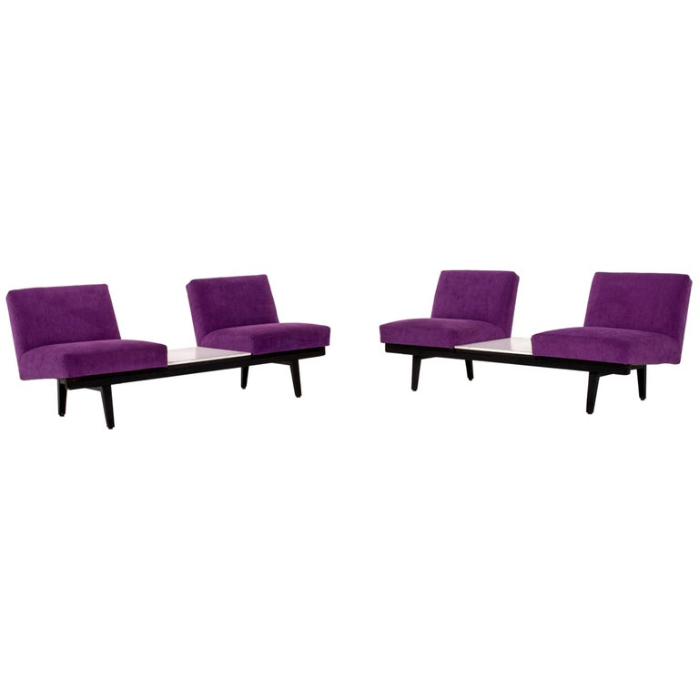 Herman Miller Fabric Sofa Set Purple 2 Two-Seat Couch For Sale