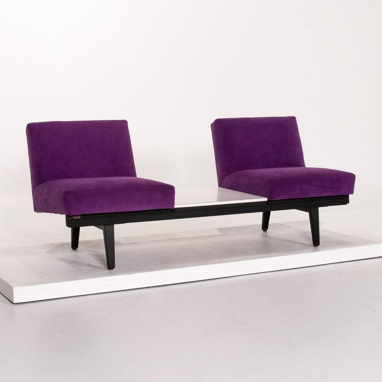 Herman Miller Fabric Sofa Set Purple 2 Two-Seat Couch For Sale 4