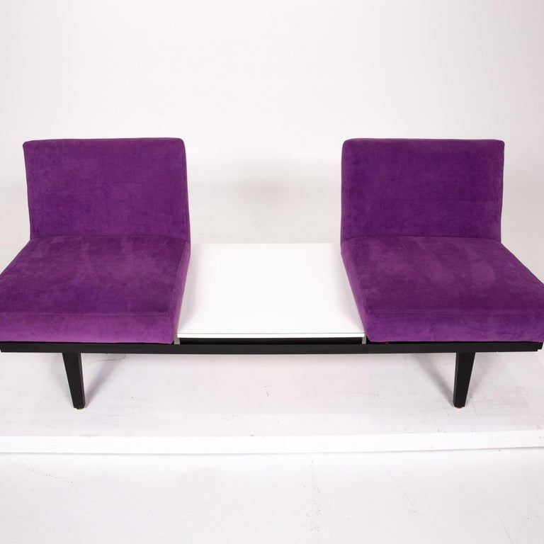 Herman Miller Fabric Sofa Set Purple 2 Two-Seat Couch For Sale 5