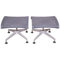 Herman Miller Modern Aluminum and Mesh Ottomans or Stools, Pair