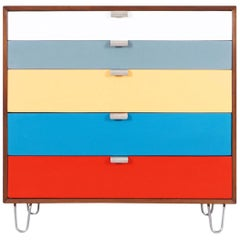 Herman Miller Multi-Color Lacquered and Walnut Chest of Drawers by George Nelson