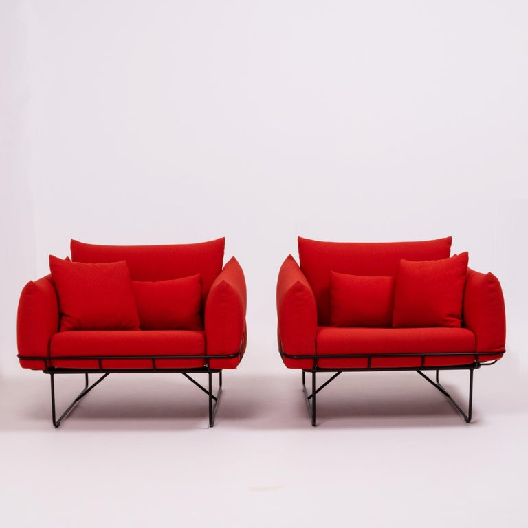 Post-Modern Herman Miller Red Wireframe Lounge Chairs, Set of 2 For Sale