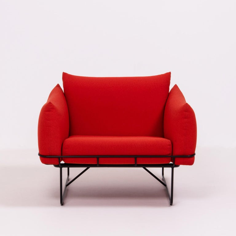 Herman Miller Red Wireframe Lounge Chairs, Set of 2 In Good Condition For Sale In London, GB