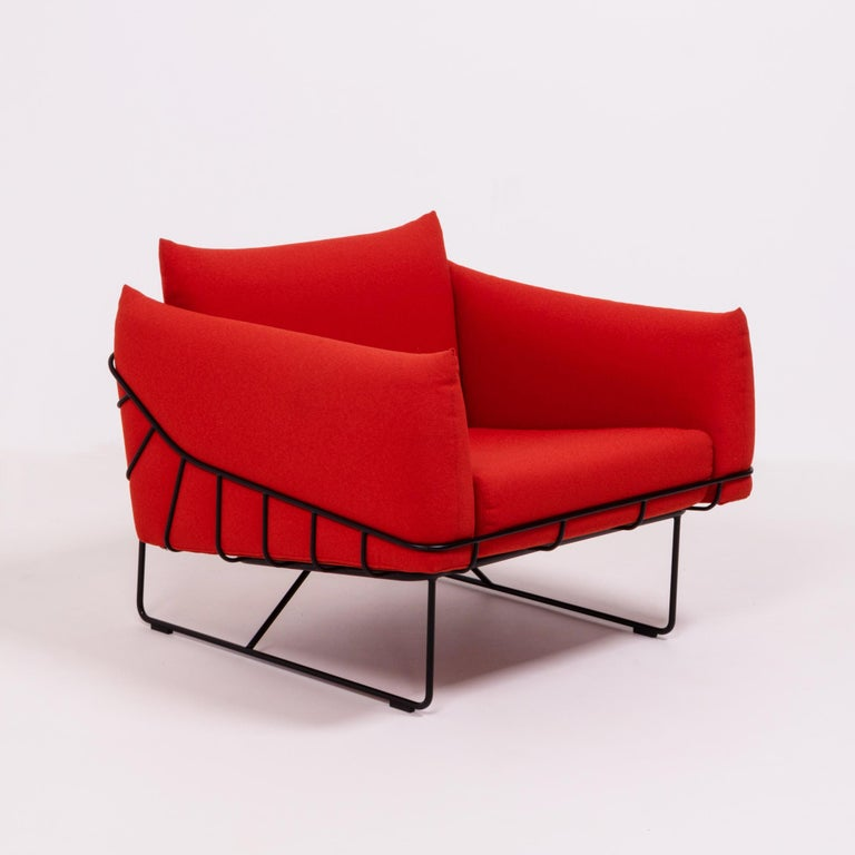 Contemporary Herman Miller Red Wireframe Lounge Chairs, Set of 2 For Sale
