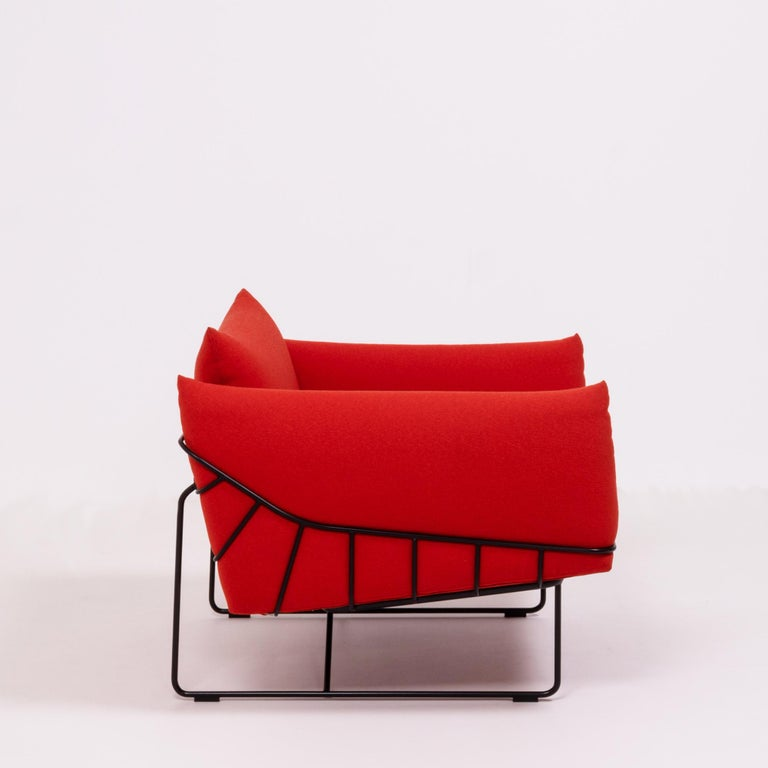 Steel Herman Miller Red Wireframe Lounge Chairs, Set of 2 For Sale