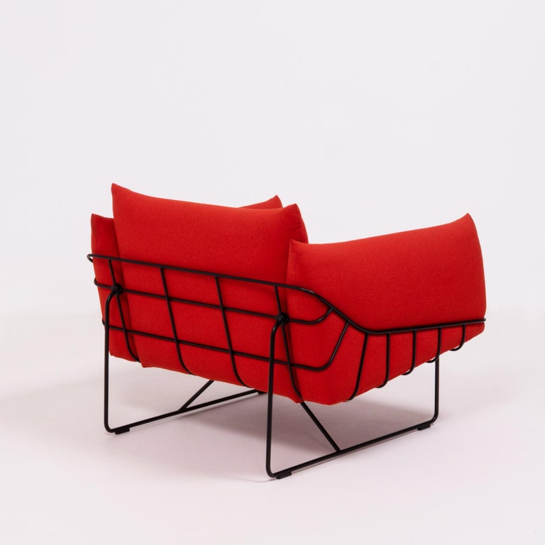 Herman Miller Red Wireframe Lounge Chairs, Set of 2 For Sale 1