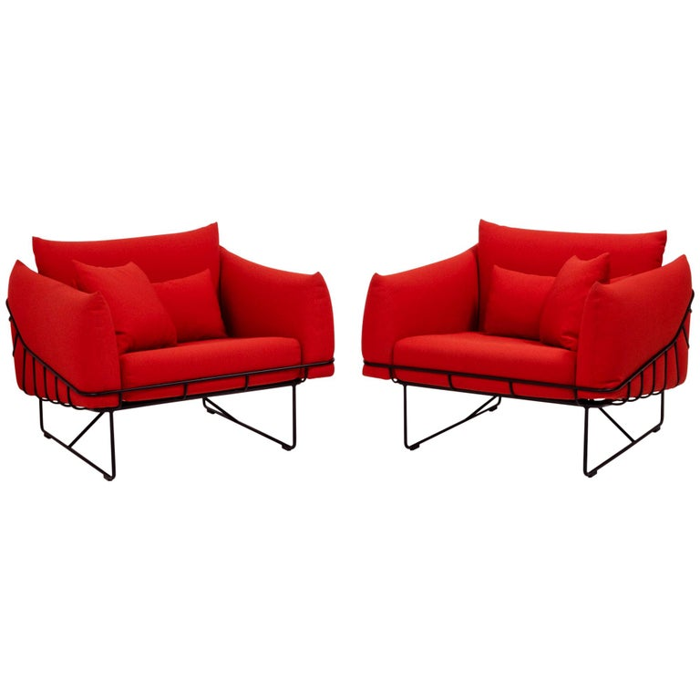Herman Miller Red Wireframe Lounge Chairs, Set of 2 For Sale