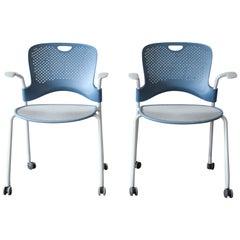 Herman Miller Rolling Office Armchairs, Pair