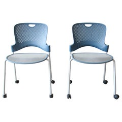 Herman Miller Rolling Office Chairs, Pair