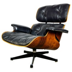 Herman Miller Rosewood and Black Leather Eames Lounge Chair