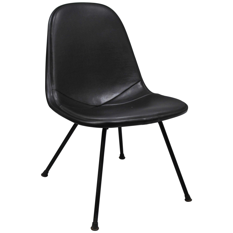 Herman Miller Vintage Eames DKX Chair Black Upholstered Padded Vinyl Wire Frame