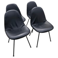 Herman Miller Vintage Eames DKX Four Chairs Black Padded Vinyl Wire Framed