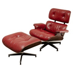 Herman Millr Eames Lounge Chair and Ottoman in Red Leather ...