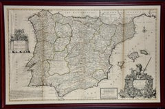 A Framed Hand-colored Early 18th Century Herman Moll Map of Spain and Portugal