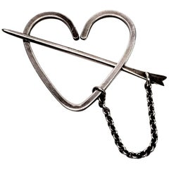 Herman Roth Sterling Silver Heart Stick Pin