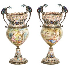 Hermann Bohm, a Fine Pair of Viennese Silver-Mounted Enamel Vases
