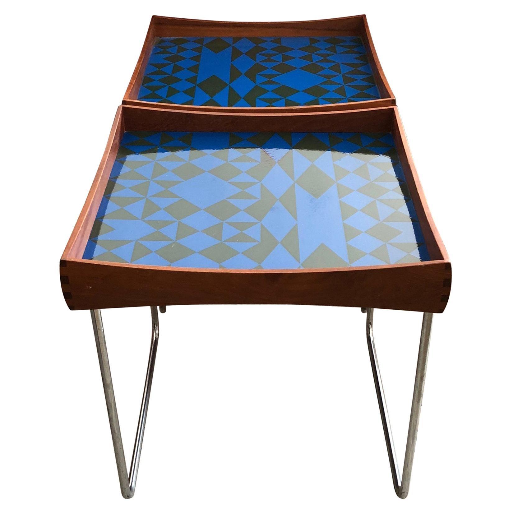 Hermann Bongard Norwegian Enamel Tray Tables