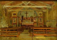 Interior of a Church - Oil Painting by Hermann Corrodi, late 1800