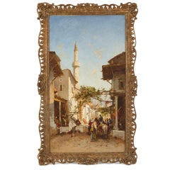 Orientalist style oil on canvas genre painting by Corrodi