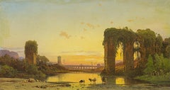 Tiber Landscape With Ancient Ruins - Oil Painting by Hermann Corrodi, Late 1800