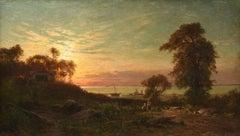 """Figures in a Sunset Landscape"" by Hermann Eschke"