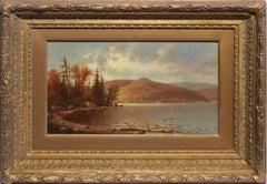 Luminous Hudson River School Fall Sunset Landscape Painting, Hermann Fuechsel