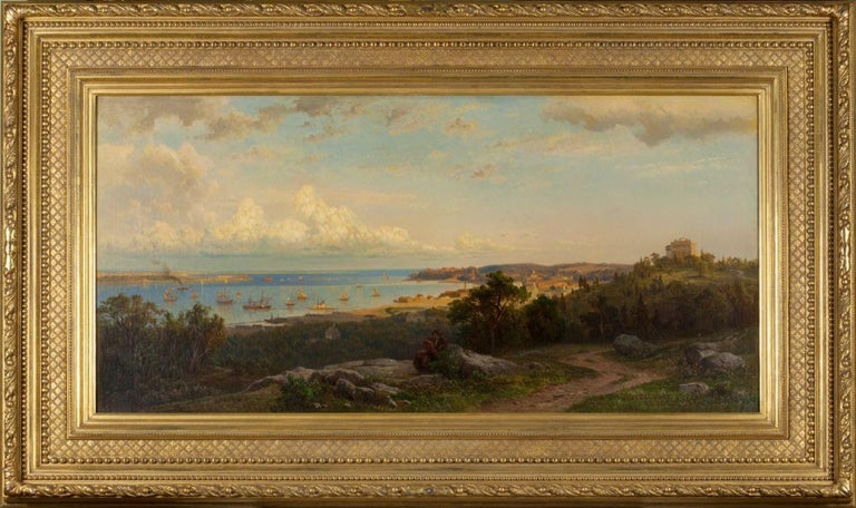 View of the Narrows from Brighton Heights, Staten Island - Painting by Hermann Fuechsel