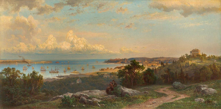 Hermann Fuechsel Landscape Painting - View of the Narrows from Brighton Heights, Staten Island