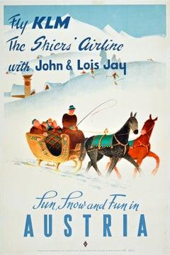 Original Vintage KLM Airline Poster Winter Ski Sun Snow & Fun Austria Horse Sled
