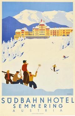 Original Vintage Poster Sudbahnhotel Semmering Austria Skiing Winter Sport Spa