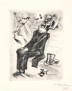 Der Schatten II - Original Etching and Drypoint by Max Pechstein - 1918