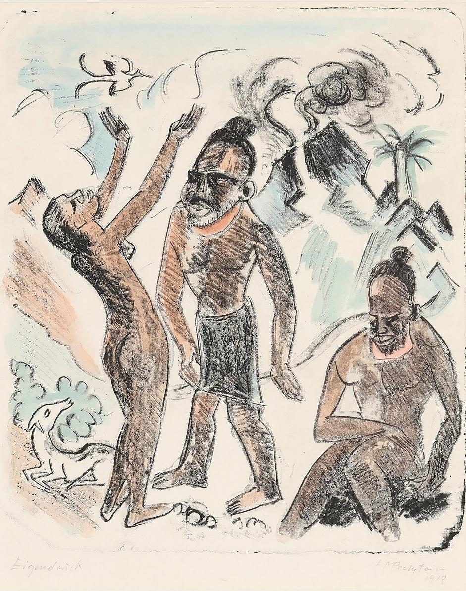 """German Expressionist Hand colored Lithograph by H.M. Pechstein """"Palau VI, 1918"""""""
