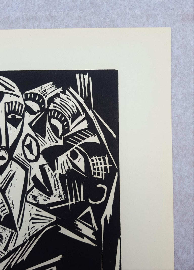 An original woodcut engraving on cream wove paper by German artist Hermann Max Pechstein (1881-1955) titled