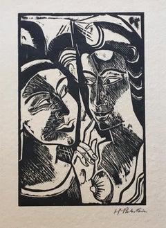 Zwiesprache - Original Woodcut Print by Max Pechstein - 1918